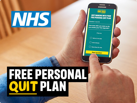 A person viewing the personal quit plan on their phone. NHS, free personal quit plan
