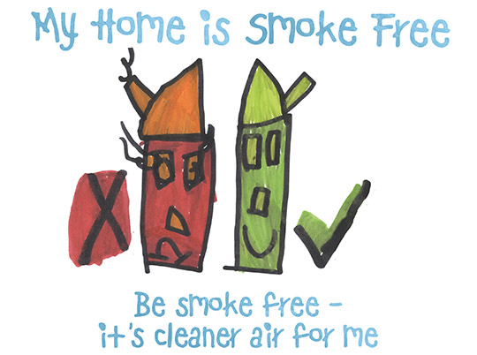 Drawing of a red smoking house with a cross and a green house with a tick. My home is smoke free. Be smoke free - it's cleaner air for me.