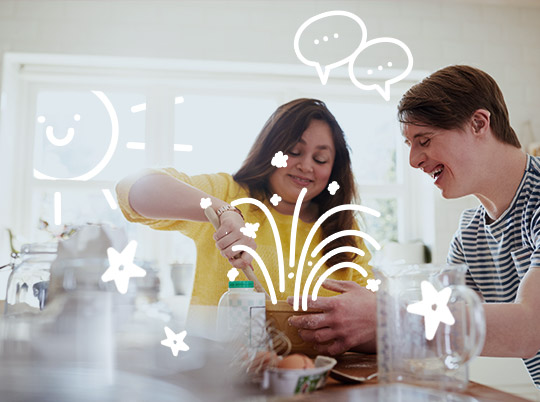 Image of a teenage girl and boy cooking