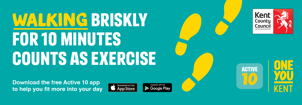 Walking briskly for 10 minutes counts as exercise. Download the free Active 10 app to help you fit more into your day.