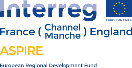 Interreg France Channel Manche England ASPIRE European Regional Development Fund logo