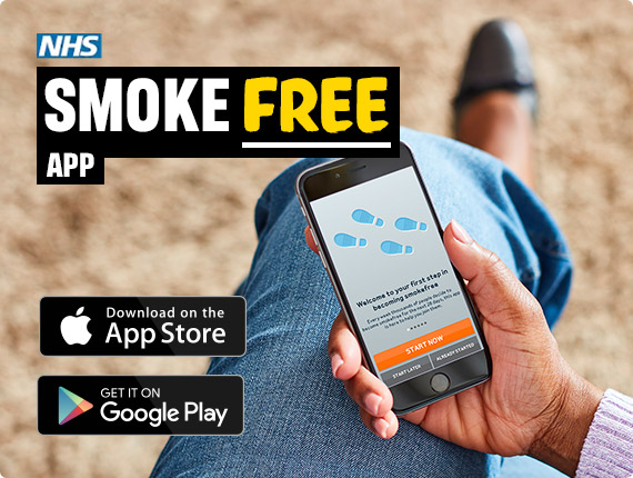 NHS Smoke Free app. Download on the App Store or Get it on Google Play.